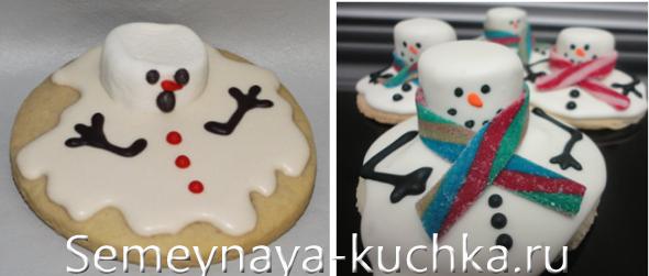 тающие снеговики на печенье