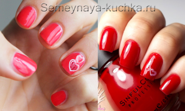 белые сердечки на красных ногтях