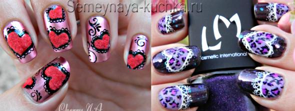 сердечки с кружевом на ногтях