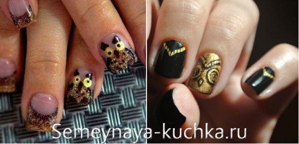сова с блестками на ногтях