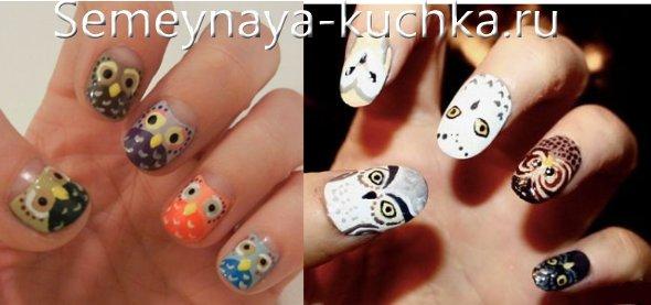 разные совы на разных пальцах