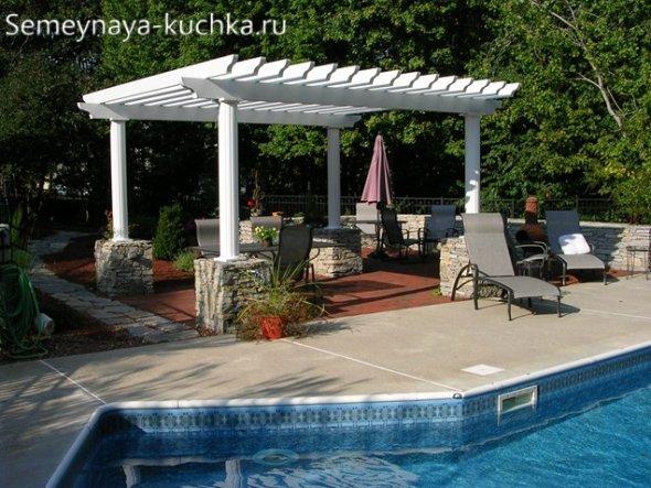 бассейн на дачном участке с перголой
