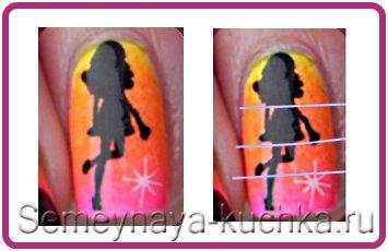 девушка нарисованная на ногтях