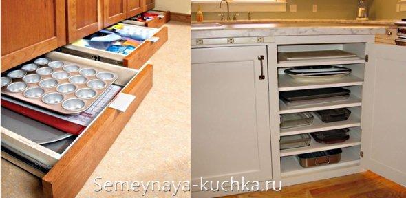 где хранить противни на кухне