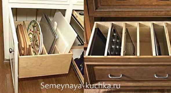 идеи для хранения противней на кухне