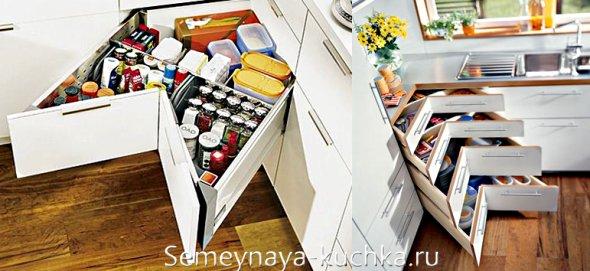 угловые выдвижные ящики для кухонных мелочей