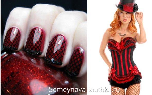 красно-черная сеточка на ногтях