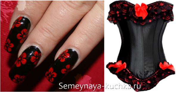Ногти рисунок с красно-черный