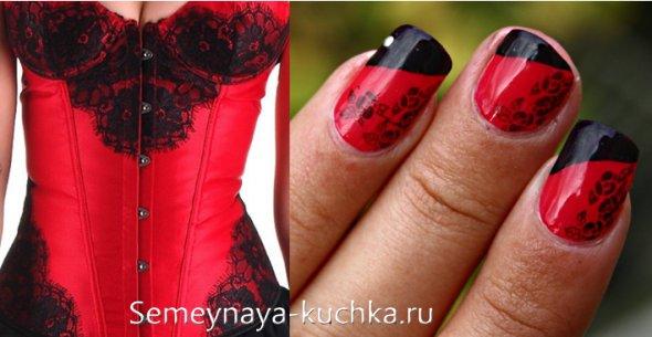 черное кружево на красных ногтях и корсете