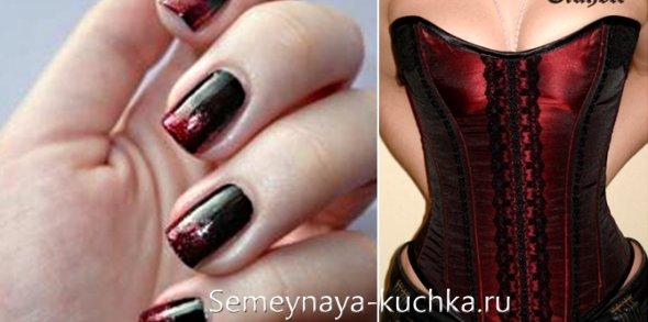 черно-красный градиент на ногтях