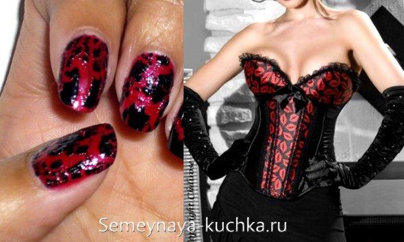 питоновый лак в красно-черном дизайне ногтей