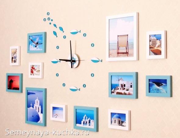 цыферблат на стене с рамками для фото