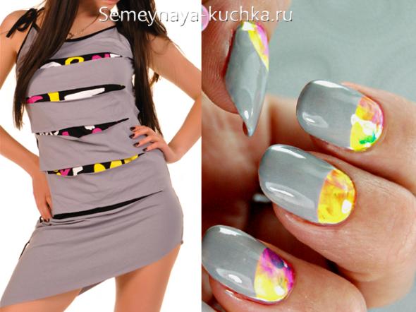 яркий цвет ногтей к серому платью с вставками