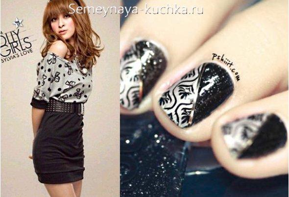 дизайн ногтей под серо-черное платье