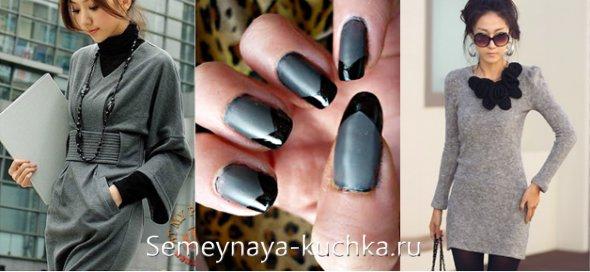 серые ногти для платья