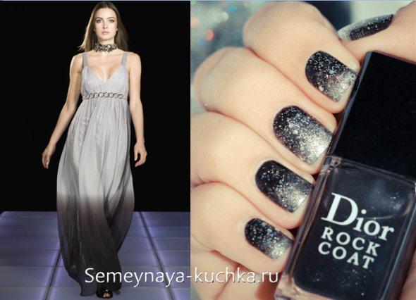 серый градиент на ногтях для платья