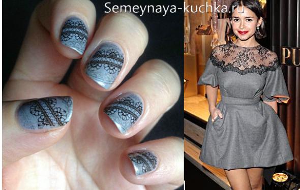 кружевные ногти под серое платье