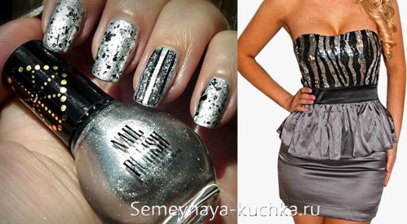 дизайн ногтей под платье серый металлик