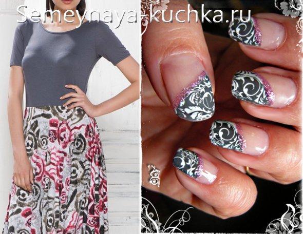цвет ногтей к розово серому платью