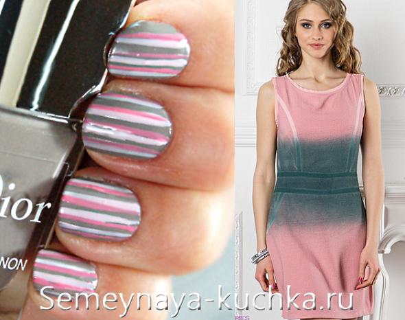 серый градиент на платье и серый дизайн ногтей в полоску