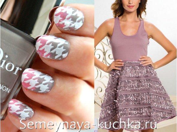серо-розовый ногти под платье