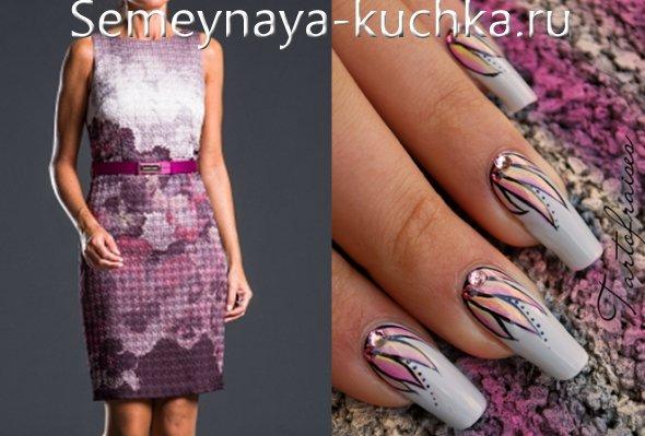 дизайн серых ногтей под платье с сереневым отливом