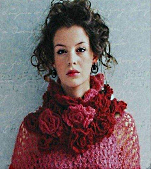 шарф крючком из роз