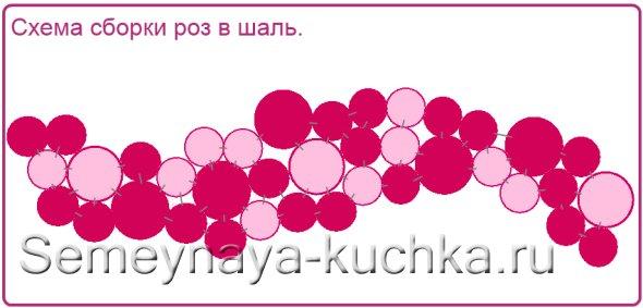 схема сборки роз в шарф