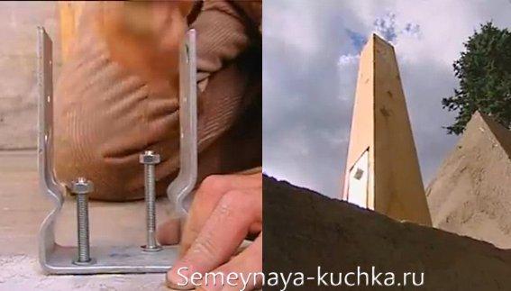 как крепить опорные столбы
