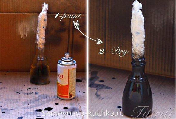 подготовка к покраске вазы из бутылки