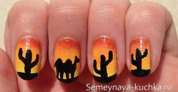 верблюд и кактусы на градиентных ногтях