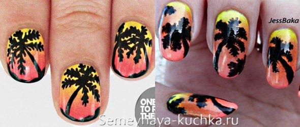 пышная пальма на ногтях с переходом цвета