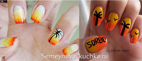 градиентные ногти с пальмой