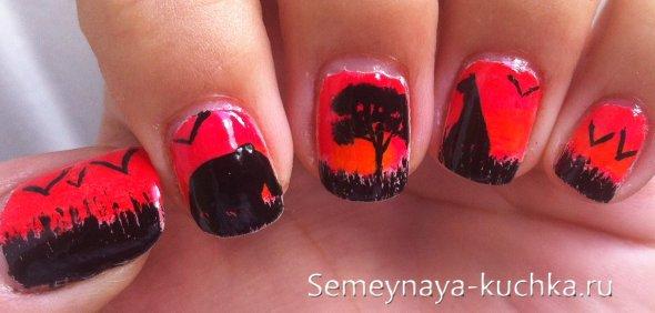 градиент с животными на ногтях