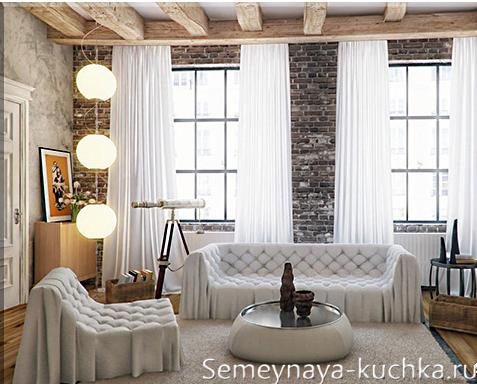 каменный интерьер в гостинной