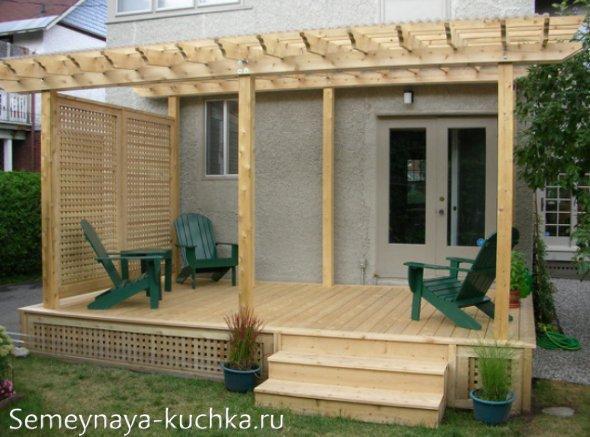 деревянное крыльцо под навес пристроенный к дому