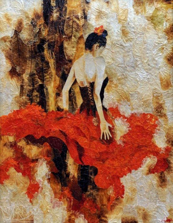 картина танцовщицы из цветов и сухих листьев