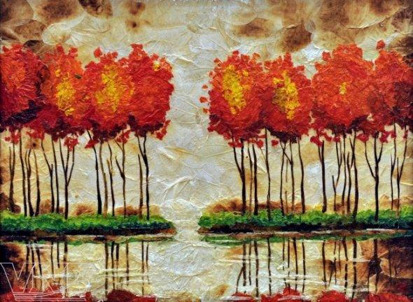 картина из засушенных листьев и цветов