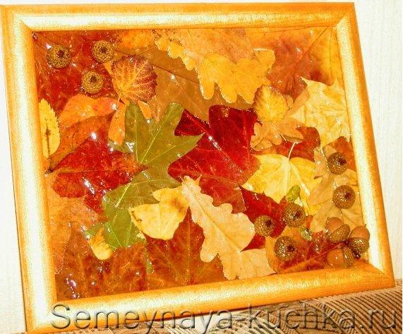 как сделать картину из листьев