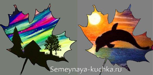 мастер-класс картины из листьев