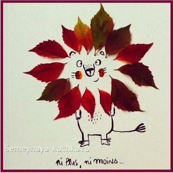 как сделать простые картины из листьев