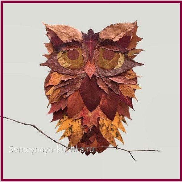 картина сова из листьев