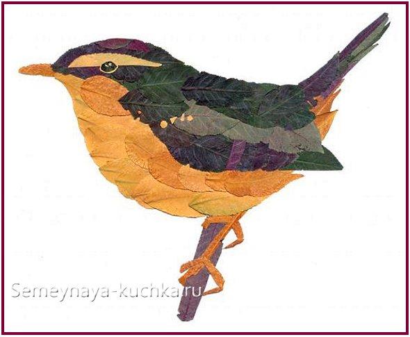 птица картины из листьев