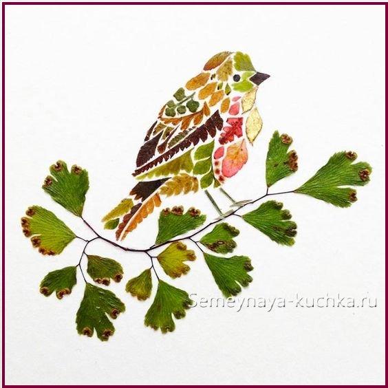 картины из листьев мозаика