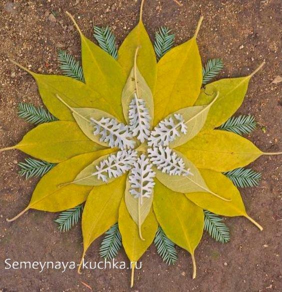 круглые узоры картины из листьев