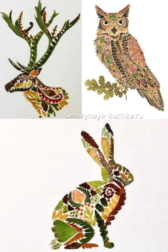 картины из листьев в технике мозаика