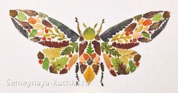 картина из листьев в технике мозаика