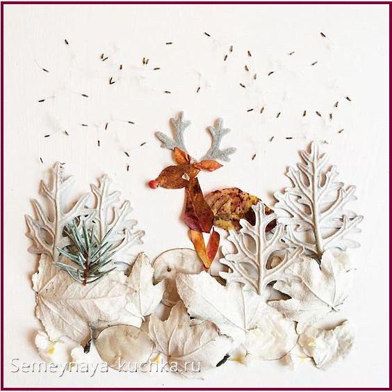картины из сухих листьев и трав