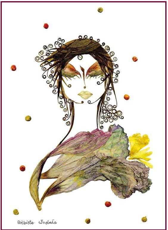 портрет женщины из листьев