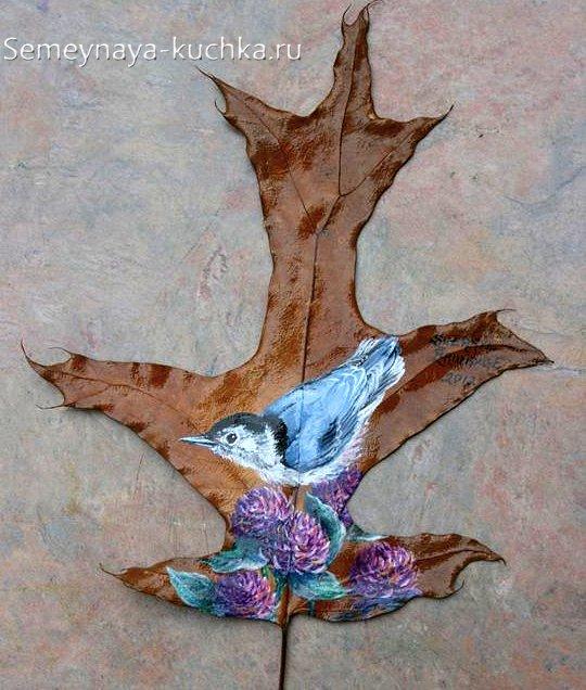картины из листьев красками